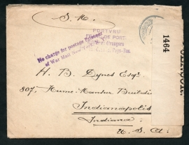WW1 Internering, censuur cover met originele brief van LEGERPLAATS BIJ HARDERWIJK naar U.S.A. Internering.