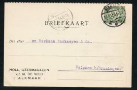 Firma briefkaart ALKMAAR 1914 met langebalkstempel ALKMAAR naar Helpman.
