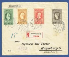 2 covers met jubileum 1913 aangetekend van 's GRAVENHAGE naar Magdeburg-S, Duitsland.