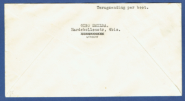 500ste vlucht naar Ned. Indië met jubileum 1913 met kortebalkstempel UTRECHT-STATION naar Bandoeng.