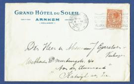 Firma cover ARNHEM 1933 van Arnhem naar Katwijk aan Zee.