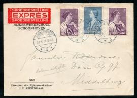 Firma cover SCHOONHOVEN 1934 met crisiszegels 1934 van SCHOONHOVEN naar MIDDELBURG. EXPRES, SPOEDBESTELLING. Eerste dag afstempeling.