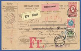 Complete pakketkaart met jubileum 1913 en bontkraag van HILLEGOM naar Carlshamn, Zweden. via Berlijn.