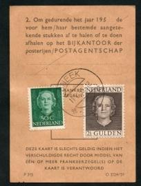 Postbuskaartje SNEEK 1953 met nvph 531 en 535.