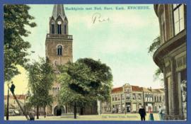 ENSCHEDE, Marktplein met Ned. Herv. Kerk. Gelopen kaart.