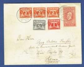 Cover met jubileum 1913 en vliegende duif met kortebalkstempel WAGENINGEN naar Rome.