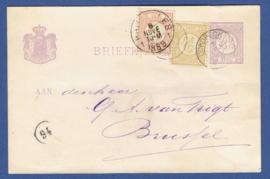 G - Briefkaart met cijfer 1876 bijfrankering van DORDRECHT naar Brussel, België.