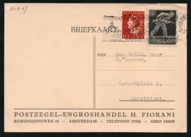 Firma briefkaart AMSTERDAM 1947 met vlagstempel AMSTERDAM naar Maastricht.