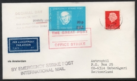 Luchtpostcover. Postal Strike (the great post office strike) van AMSTERDAM naar ZWITSERLAND.