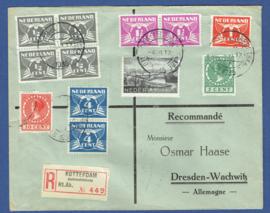Cover met mengfrankering van o.a. Roltanding.  Van ROTTERDAM Aalbrechtskade naar Duitsland. Aangetekend.