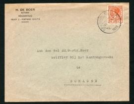 Firma cover HOOGWOUD 1933 met kortebalkstempel SPANBROEK (N.H.) naar SCHAGEN.