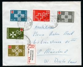 Cover met Roode Kruis zegels (serie) met kortebalkstempel ROTTERDAM - WALENBURGERWEG. Aangetekend.