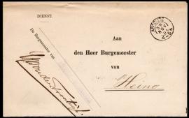 Dienst. Aan Den Heer Burgemeester Van. Met kleinrondstempel ABCOUDE naar Heino. Langstempel ABCOUDE - BAAMBRUGGE.