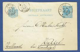 G - Briefkaart Antwoordt kaart van Leipzig naar KEPPEL via DOESBURG. Bedrijfsnaam inslag.
