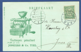 Firma briefkaart TIEL 1915 met langebalkstempel TIEL naar Joure. Geïllustreerd.