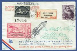Raketpost 1945. Aangetekend Amsterdam Scheldestraat. Nederlandsche Ruimtevaart Studio.