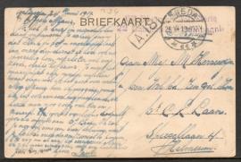 Langebalkstempel BREDA naar Hilversum, op ansichtkaart Ginneken. Infanterie.