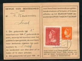 Postbuskaartje SNEEK 1948 met nvph 347 en 344.
