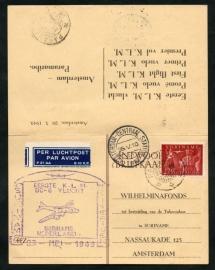 Eerste rechtstreekse KLM vlucht ASTERDAM-PARAMARIBO op particuliere briefkaart van het Wilhelminafonds. Met betaald antwoord. Retourkaart.