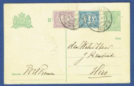 G - Briefkaart met bijfrankering. DEVENTER lokaal verzonden.
