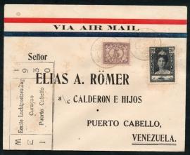 Eerste Luchtpostzending Curacoa - Puerto Cabello. Mei 1930.