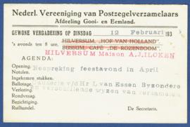Particulier postwaardestuk, Nederl. Vereeniging van Postzegelverzamelaars, Afdeling Gooi- en Eemland. 1935.  A-Kaart.