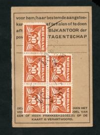 Half postbuskaartje AMSTERDAM 1943 met nvph 391.