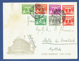 Firma cover 's GRAVENHAGE 1937 van 's GRAVENHAGE naar Duitsland.