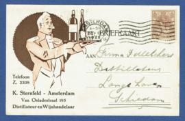 Firma briefkaart AMSTERDAM 1922 met vlagstempel AMSTERDAM naar Schiedam. Geïllustreerd.