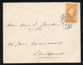 Cover met langebalkstempel HAARLEM STATION op Jubileum 1913.