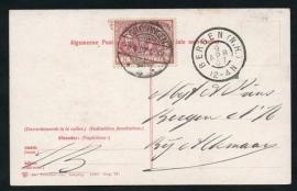 Briefkaart met langebalkstempel / Martinstempel GRONINGEN 3 naar BERGEN (N.H.). Op ansichtkaart GRONINGEN, Heerensingel over het kanaal.