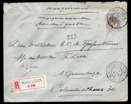 Cover met grootrondstempel NOORDDIJK (GRON.) naar `s GRAVENHAGE. Angetekend, waarde, verzegeld met lak.