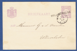 G - Briefkaart met langstempel BELLINGWOLDE en kleinrondstempel WINSCHOTEN naar Winschoten.