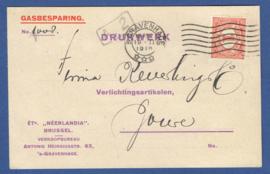 Firma briefkaart 's GRAVENHAGE 1919 met vlagstempel 's GRAVENHAGE naar Joure. Geïllustreerd.