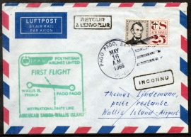 FIRST FLIGHT WALLIS IS. FRENCH TO PAGO PAGO. 16 MEI 1966.