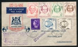 Proefvlucht KLM AMSTERDAM NEDERLAND - ZUID-AFRIKA. 6 October 1946. (Princessenzegels)