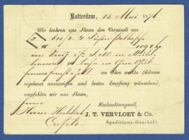 Particulier postwaardestuk ROTTERDAM 1876, J.T. VERVLOET & Co  Speditions-Geschaft. Van ROTTERDAM naar Crefeld, Duitsland.