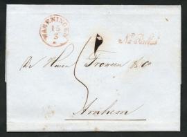 WAGENINGEN 1858. Vouwbrief van WAGENINGEN naar ARNHEM. NA POSTTIJD.