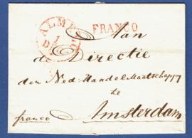 ALMELO 1835. Briefomslag ALMELO FRANCO naar AMSTERDAM.