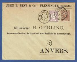 Firmacover met mengfrankering cijfer / hangend haar van VLISSINGEN naar Antwerpen.