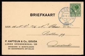 Firma briefkaart GOUDA 1931 met kortebalkstempel (blauwstempel) GOUDA naar Dordrecht.