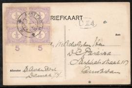 Briefkaart met kortebalkstempel AMSTERDAM. Lokaal verzonden.