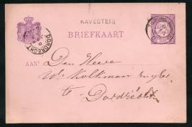G - Briefkaart met langstempel RAVESTEIN met trajectstempel TILBURG-NIJMEGEN naar DORDRECHT.