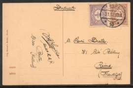 Briefkaart met langebalkstempel BREDA naar Frankrijk op ansichtkaart Ginneken, Baronielaan.