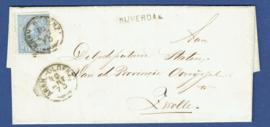 NIJVERDAL 1873. Langstempel NIJVERDAL op vouwbrief met trajectstempel takje: ARNH.-OLDENZ:  naar ZWOLLE.