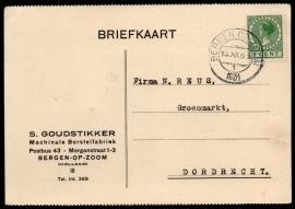 Firma briefkaart BERGEN OP ZOOM 1931 met kortebalkstempel BERGEN OP ZOOM naar Dordrecht.