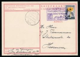 AMSTERDAM Nat. postzegeltentoonstelling 26-28 Aug. 1949. Op G - briefkaart met 2 cent NIWIN zegel over de 5 cent geplakt.