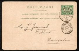 Briefkaart met grootrondstempel HET ZAND (N.H.) naar BARSINGERHORN op ansichtkaart Den Helder.