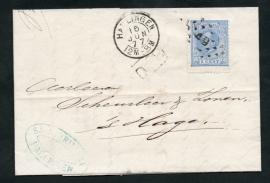 Puntstempel 49 en 2-letterstempel HARLINGEN op vouwbrief naar `s GRAVENHAGE.