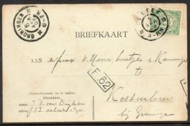 Briefkaart met grootrondstempel DE LEEK naar GRONINGEN.
